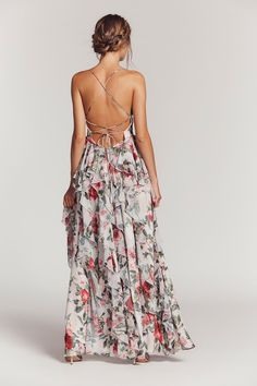 Queen Ann Maxi Dress | Gorgeous floral maxi dress featuring an ethereal silhouette with delicate ruffles throughout and a crossed, strappy back design along the skin-baring open back.