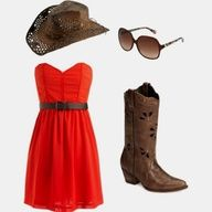 Red Dress with Cowgirl boots <3