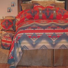 Southwest style bedding with Native American design.