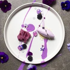 | Lavender Ice Cream • Sponge • Gelée • Gel • Cream With Blackberries And White…