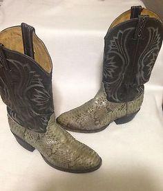 877b1756996cb2  105.00 Vintage-Tony-Lama-Snakeskin-Western-Boots-Size-8D