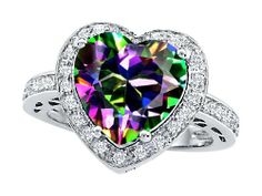 Original Star K Tm Large 10mm Heart Shape Rainbow Mystic Topaz Engagement Wedding Ring In 925 Sterling Silver Size 7