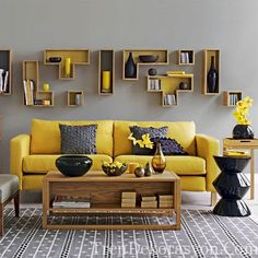 On a gray day or in a dark or small living room, a yellow sofa functions like a ray of sunlight. In larger, brighter spaces, a modern yellow sofa adds a pop of Grey And Yellow Living Room, Room Design, Interior, Living Room Decor, Home Decor, Living Room Grey, Yellow Room, Yellow Sofa, Furniture Design