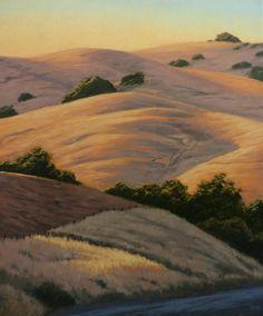 Northern California Landscape painting, Marin County landscape, golden California hills, original oil painting  www.terrysauve.com