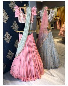 New wedding dresses blue veils Ideas Lehenga Designs Latest, Half Saree Designs, Choli Designs, Dress Designs, Lehnga Dress, Lehenga Blouse, Lehenga Choli Latest, Lehenga Gown, Sarees