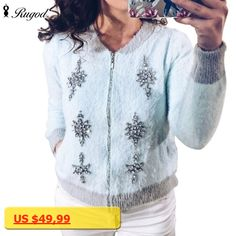 Rugod 2017 New Fashion Autumn Winter Warm Mink Cashmere Cardigan Sweaters Women Long Sleeve Casual Loose Sweater Knitted Tops