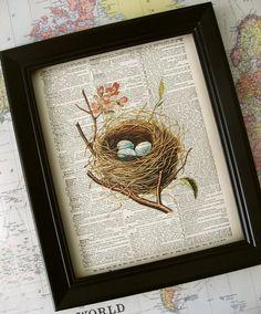 Bird's Nest print vintage dictionary art print  old by Kiintage, $10.00