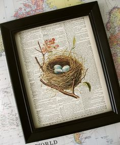 Bird's Nest print vintage dictionary art print  old by Kiintage, $10.00