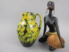 Vintage Vase von Scheurich 414-16 Fat Lava Krug WGP West Deutsche Keramik Mid Century Modern gelb schwarz von ShabbRockRepublic auf Etsy