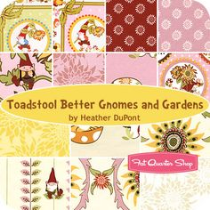 Toadstool Better Gnomes and Gardens Fat Quarter Bundle Heather DuPont for In the Beginning Fabrics
