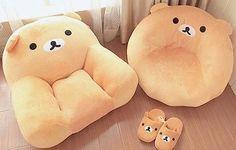 Kawaii Rilakkuma Seats and Slippers ~ I love the round seat! Rilakkuma, My New Room, My Room, Kawaii Room, Cute Room Decor, Cute Pillows, Deco Design, Kawaii Cute, Dream Bedroom