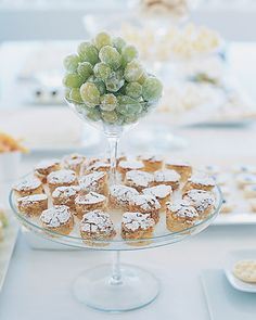 Candied green grapes and cakes sprinkled with confectioners' sugar make for pretty, light treats (especially late at night).
