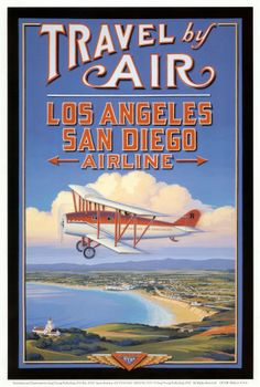 Travel by Air :: Los Angeles San Diego Airline #vintage #travel #poster