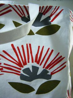 Tote Bag in Hand Printed Canvas From New Zealand Textile Designer Ingrid Anderson Pohutukawa Print
