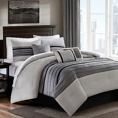 Dylan 6-7 Piece Comforter Set in Grey