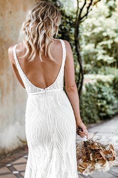 Untamed Heart | The Brand New Wedding Dress Collection from Lovers Society Gowns, Backless, White Dress, New Wedding Dresses, Lace Design, Bridal, Dress Collection, Bodice, Bell Sleeves