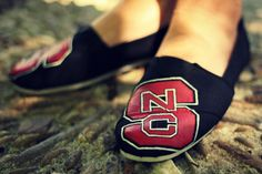 NC State Wolfpack painted shoes. Shannon Berrey Design Blog