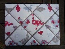 Chickens & Ducks Fabric Memo Board | wowthankyou.co.uk