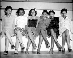"""""""Pin-up girls at NAS Seattle, Spring Formal Dance. Left to right: Jeanne McIver, Harriet Berry, Muriel Alberti, Nancy Grant, Maleina Bagley, and Matti Ethridge."""""""