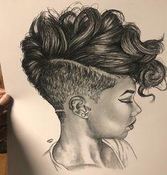 Dope hair drawing by @nuyu.art - https://blackhairinformation.com/uncategorized/dope-hair-drawing-nuyu-art/