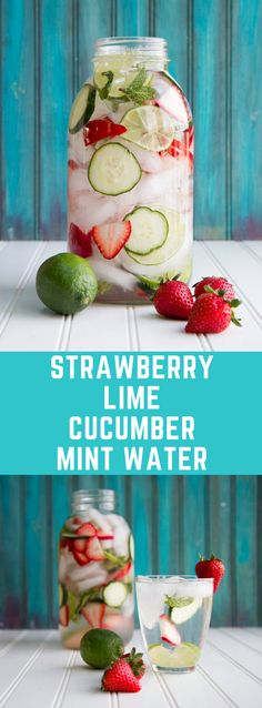 Strawberry Lime Cucumber and Mint Infused Water Detox Cleanse Water, Infused Water Detox, Smoothie Cleanse, Detox Soup, Water Recipes, Detox Recipes, Juicer Recipes, Salad Recipes, Digestive Detox