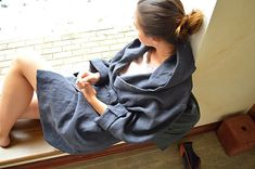 Charcoal blue linen robe  Women's  linen bathrobe  by pureWHITEspa