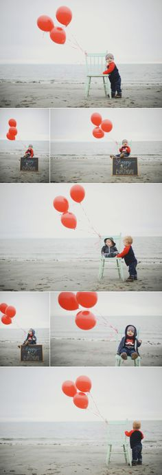 vancouver island photographer, baby first birthday, first birthday photoshoot, photoshoot on beach for baby first birthday, birthday invitations, birthday invites, baby on the beach with balloons