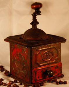 Antique KBS Tin Coffee Grinder RARE Vintage Rustic Primitive Red Coffee Mill