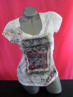 NWOT MAURICES WHITE SHEER SHORT SLEEVE BLING SHIRT TOP SZ M #Maurices #KnitTop #Casual