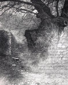 Livio Ceschin Old passageways etching and dry-point 1999 - 250 x 202 mm Landscape Drawings, Abstract Landscape, Chinese Mountains, Comic Style Art, Drypoint Etching, City Art, Wildlife Art, Horror Art, Gravure