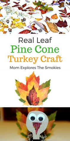 This fun nature art project is one of the most perfect Thanksgiving crafts for kids. Using real leave give this artwork stunning final colors! Pinecone Turkey, Pinecone Crafts Kids, Leaf Crafts, Pine Cone Crafts, Autumn Crafts, Nature Crafts, Thanksgiving Activities For Kids, Autumn Activities For Kids, Thanksgiving Crafts
