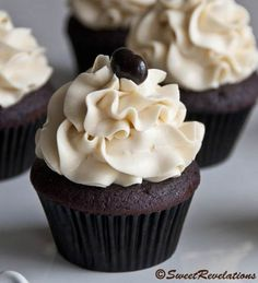 Dark Chocolate Mocha Cupcakes with Bailey's Swiss Meringue Buttercream