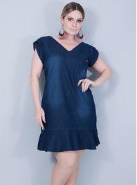 Vestido+Evas%EA+Jeans+com+Babado+na+Barra
