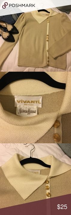 VINTAGE NEIMAN MARCUS LIGHT TAN & CREAM SWEATER This is a classic vintage Vivanti by NEIMAN MARCUS sweater set off by gold buttons and a standup collar and shoulder pads seen in nicely for a polished look. Perfect with pencil skirt!  This fits me, so I'm guessing it's a S/M.  Please text me with questions!! This is a pullover. Neiman Marcus Sweaters Cowl & Turtlenecks