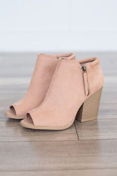 "Faux suede peep toe bootie featuring a side zipper detail and a chunky stacked heel. Man made material. Heel measures 3.5"""" tall. Fits true to size. Style #SBARNES-102ABLUSH #fitness_mujer_inspiration"