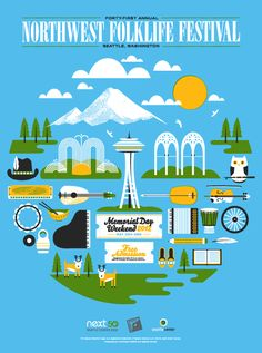 The annual Northwest Folklife Festival is a weekend of music, dance, and culture held May 2012 at Seattle Center. Festival Flyer, Festival Posters, Things To Do Seattle, Memorial Weekend, Illustrations And Posters, Art Posters, Pacific Northwest, Travel Posters, North West