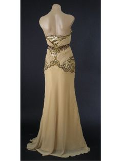 Old Hollywood Glamour Gold Vintage Inspired Evening Gown-Vintage Style Prom Dresses - from the back