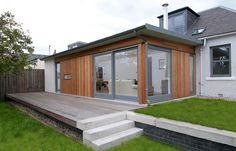 Wooden Wall Modern Bungalow Design Ideas With Glasses Door Can Add The Modern Touch Inside House Design Ideas With Wooden Floor And Green Grass Interior Precious Modern Bungalow Design Ideas House Extension Design, Extension Designs, Glass Extension, Roof Extension, House Design, Extension Ideas, Flat Roof Design, Bungalow Extensions, Garden Room Extensions