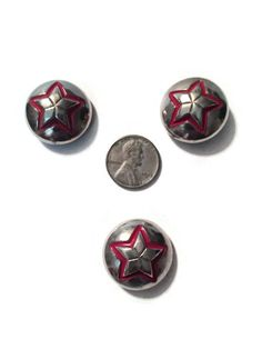 Set of 3 VINTAGE Chunky Silver Tone Metal Shank Rounded Dome Buttons with Protruding Star with Red Outline, #10
