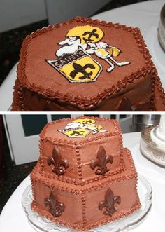 Thanks to Rusty Schilling for sending us these pictures of his groom's cake! #Saints #NOLA #Cake #GroomsCake