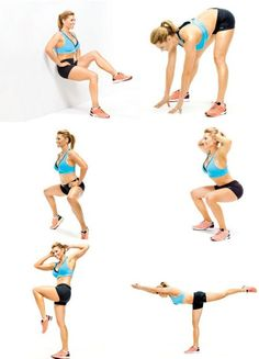 6 Moves to Resize Your Butt and Thighs - 6 Squat Variations! Need this!! Wow i feel the burn!