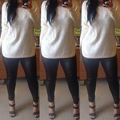 Knitted cream sweater black leggings