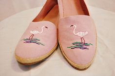Pink Flamingo Canvas Wedges
