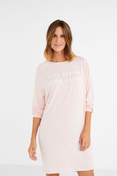 466f4825c7 Womensecret Camisón corto  Life begins after coffee  rosa