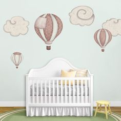 3 hot air balloons & 3 cloud wall stickers available in these 4 color schemes large & adorable baby nursery room decals easy to use – just peel & st
