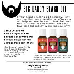 Essential Oils for Men!  DIY Beard Oil!!  Combine some jojoba and grapeseed oil with Cedarwood, Bergamot, and Peppermint (or other oils of his choice) for a luscious beard!!
