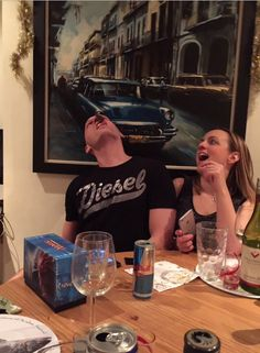 New Years Eve antics!  Challenge 1:  Put an After Eight onto your forehead and get it into your mouth - no hands! :)