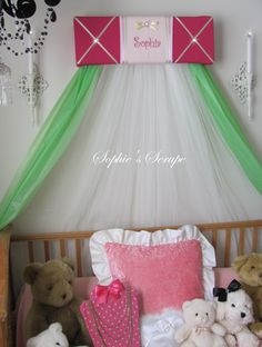 Ballet Princess Ballerina Embroidered Bed Canopy CROWN PiNk FrEe Personalized Monogram SaLe FrEe ShiPPinG by SoZoeyBoutique on Etsy