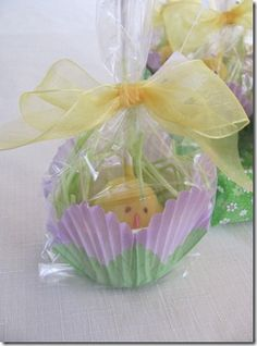 Put a chocolate bunny in a cupcake holder with grass and jelly beans at each plate.  Also, could be used as place card holders.