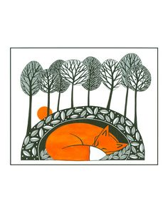A4 Art Illustration Print Fox Landscape Trees Pen And Ink Art Animal Drawing Graphic Art Black White Orange